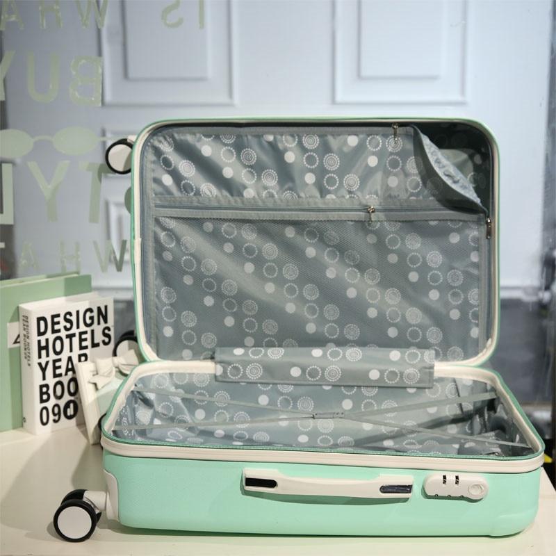 Star style luggage trolley luggage female universal wheels travel bag picture box14 20password box sets,korea fashion luggageset