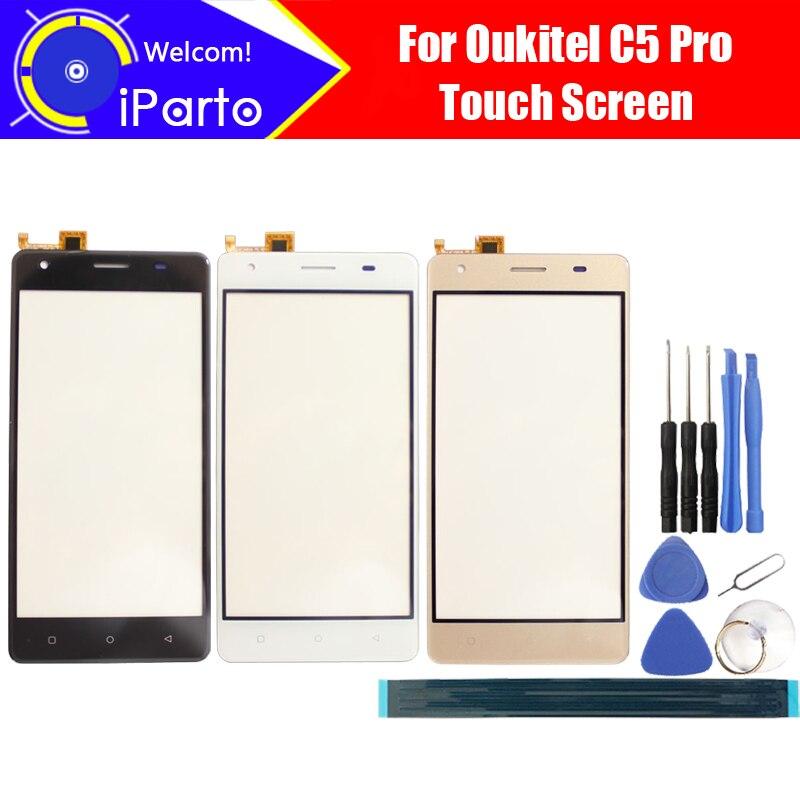 5.0 pouce Oukitel C5 Pro Digitizer Écran Tactile 100% Garantie D'origine Panneau de Verre Écran Tactile Pour C5 Pro + outils + adhésif