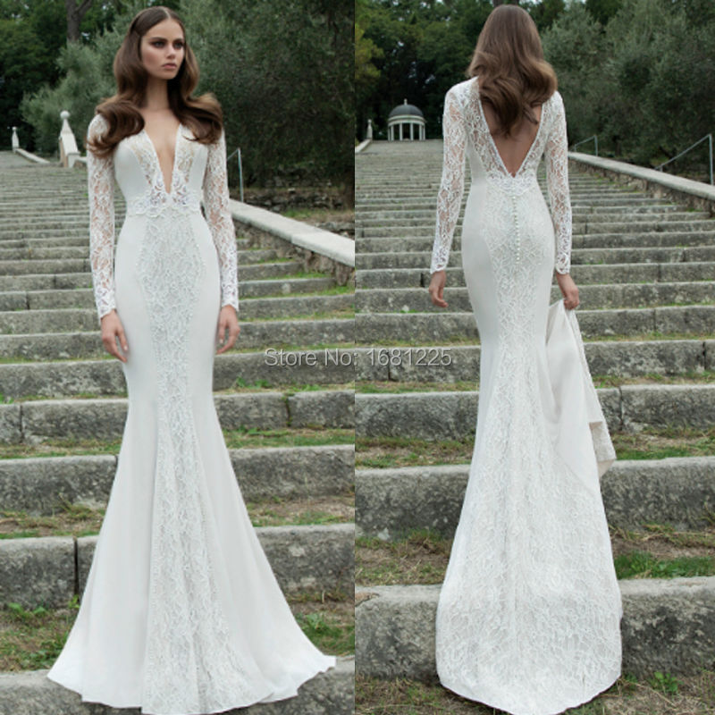2017 New Arrival Cap Sleeve Full White Lace Wedding Dresses Vestidos Do Novia Long Length Mermaid In From