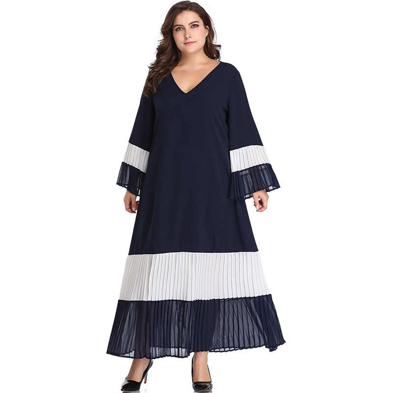 Pleated Long Dress XL,5XL Plus Size Dresses for Women Long Summer 2019 V  Neck Flare Sleeve Patchwork Loose Dress HY8216