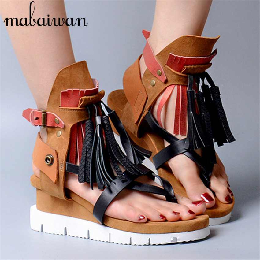 Bohemia Fashion Women Genuine Leather Summer Sandals Casual Platform Wedge Shoes Woman Fringed Gladiator Sandal Ladies Wedges summer wedges shoes woman gladiator sandals ladies open toe pu leather breathable shoe women casual shoes platform wedge sandals