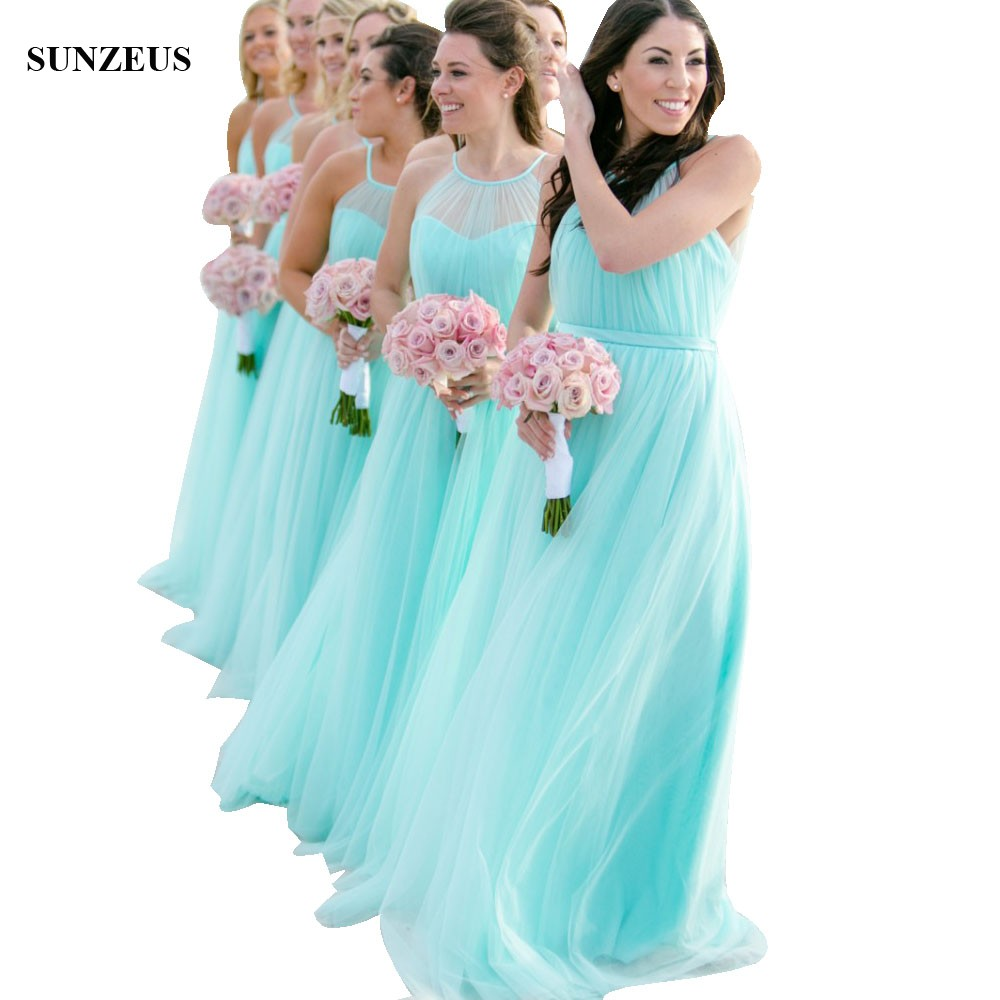 Wedding Gowns Bridesmaid Dresses: Robe Turquoise Long Tulle Bridesmaid Dresses For Beach