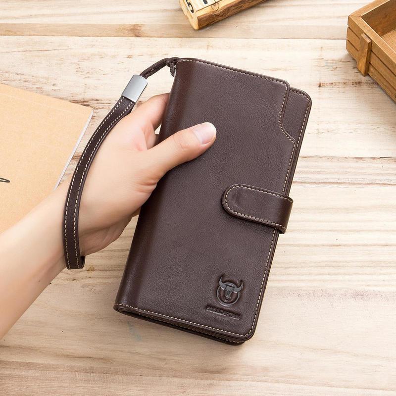 BULLCAPTAIN Men Business Retro 12 Card Slots Phone Bag Long Wallet male wallet cowhide zipper SHORT money wallet hasp card holde