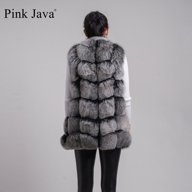 Pink Java QC8046 BIG SALE FREE SHIPPING  hot new  natural fox fur long vest  real fox fur gilet winter high quality women fox 4