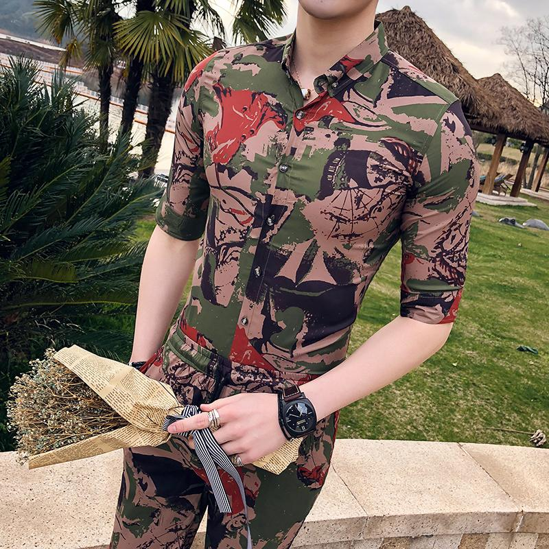 Shirt Mens Slim Summer Green Casual Half sleeve 2 Pieces Shirt+Shorts Blouse clothing Hawaiian Camisa social masculina