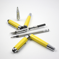 Luxury Jinhao Yellow Metal Fountain Pens Ballpoint Pens Silver Clip Blue Black Ink For Office Business