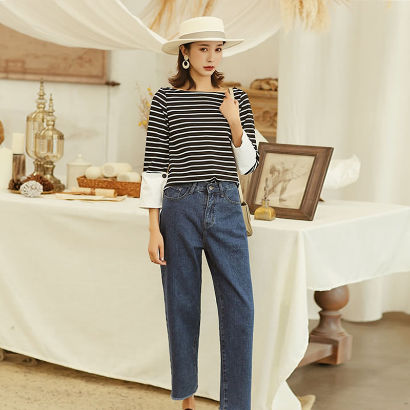 Summer xitao Sleeve Fashion Casual Full Patchwork O shirt T 2019 Picture Spring Zll2840 Tee Pullover New Female Striped neck See qrwrE8