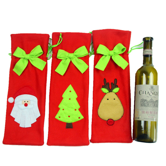Wine Bottle Christmas Tree Diy.Us 2 72 1 Pcs Christmas Wine Bottle Cover Dinner Party Decoration Bow Knot Red Deer Christmas Tree Santa Claus Bottle Cover Bag In Party Diy