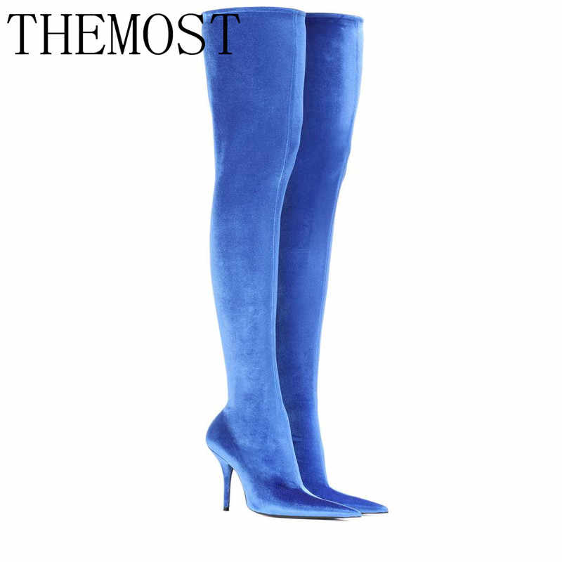 e2f083ab6ceb ... THEMOST Women Autumn 2018 Shoes Woman Thigh High Boots Satin Stretch  Elastic Over The Knee Sky ...