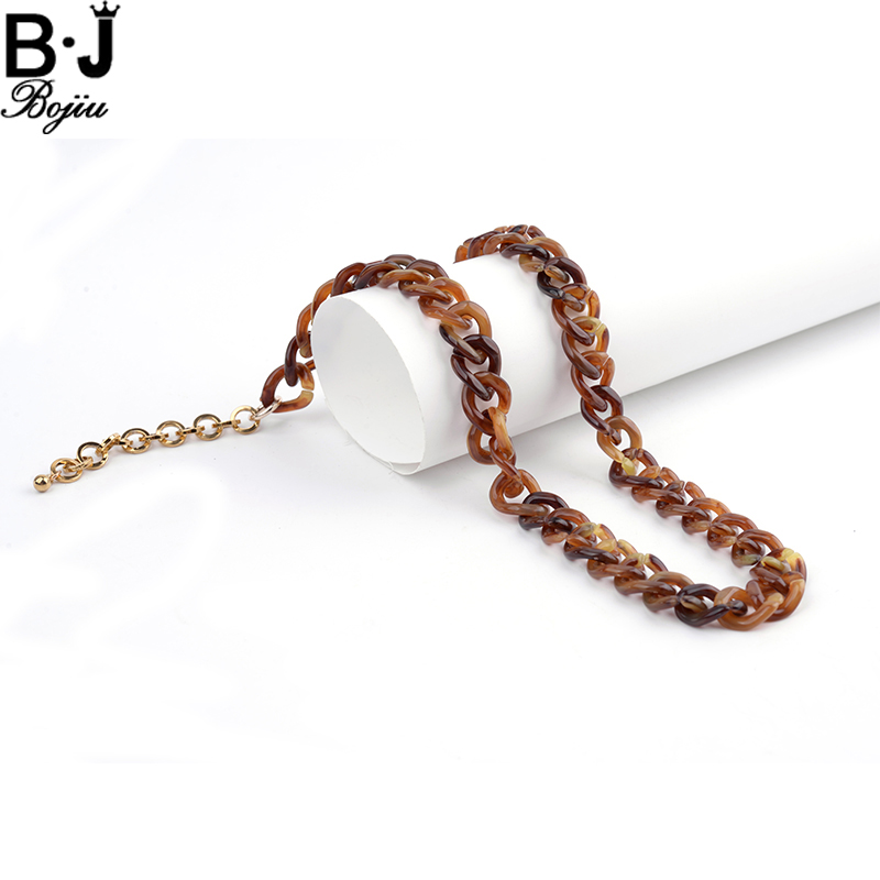 BOJIU Women Chain Necklace Plastic Resin Party Jewelry Charm Long Necklace Accessories Chain Necklace Fashion Gifts NKS082