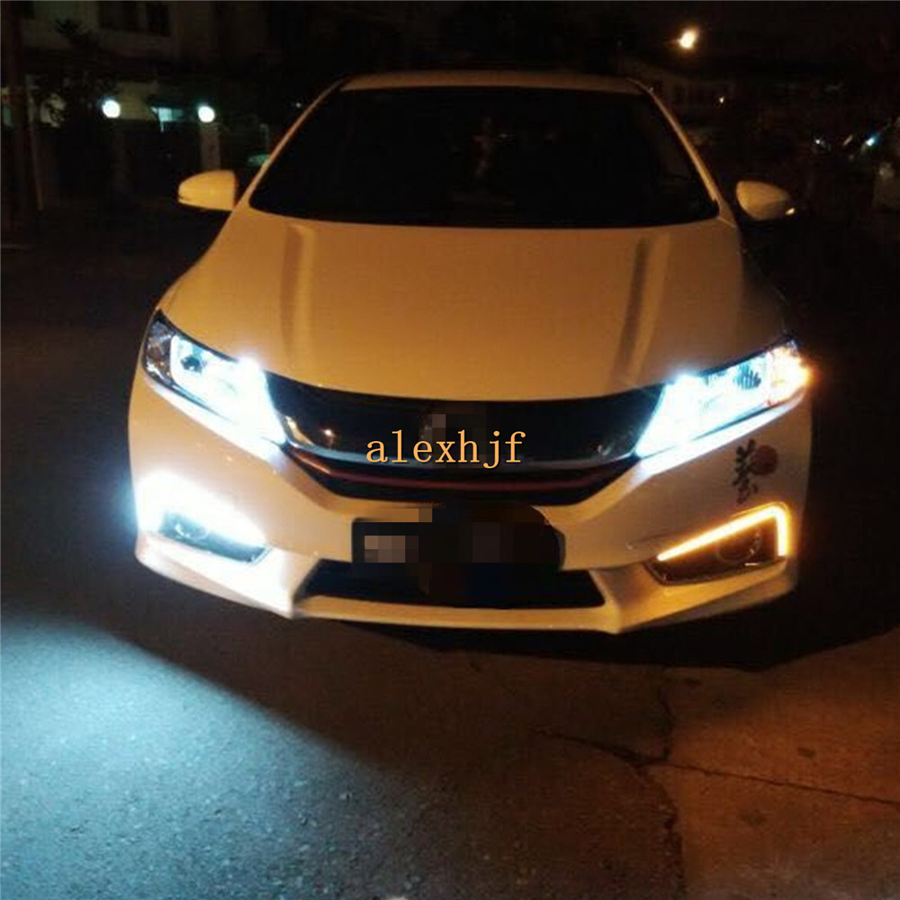 July King LED Light Guide Daytime Running Lights Case for Honda CITY 2015~17, LED DRL With Yellow Turn Singals, Plating Edition july king led daytime running lights 6500k 18w led fog lamps case for honda crv fit city crosstour everus and acura 2013 on etc