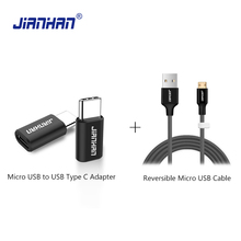 Reversible Micro USB Cable Free with Type C Converter Data Sync Charger to Adapter