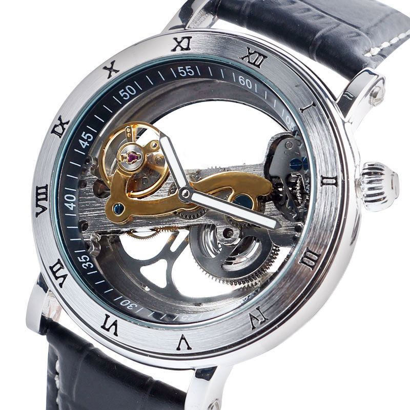 Montres mécaniques automatiques hommes montres-bracelets Design spécial noir/marron Transparent Cool mâle horloge heure relogios masculino cadeaux