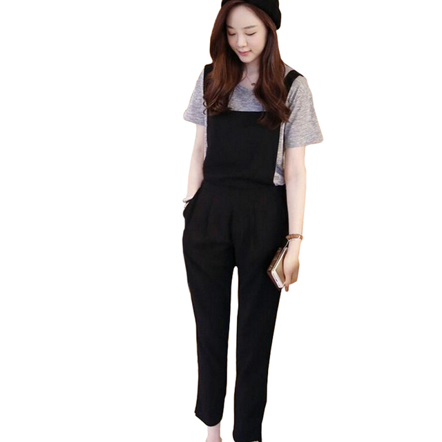 665d016fb32d 2018 Summer Casual Rompers Womens Jumpsuits Korean Preppy Loose Sleeveless  Black Overalls Retro Back Cross Bandage