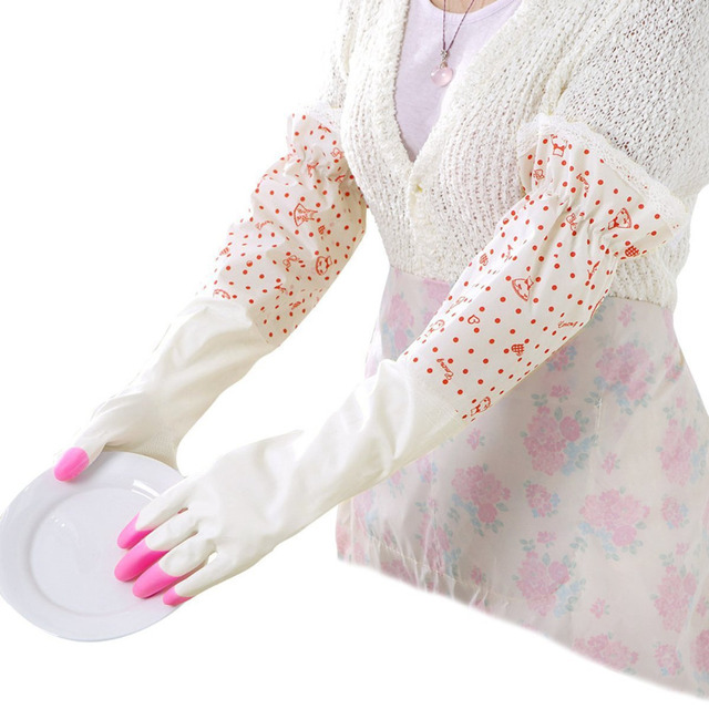 Cute Polka Dot Lace Ruffles Dishwashing Gloves Cleaning Gloves Household  Gloves Water Stop Waterstop Gloves