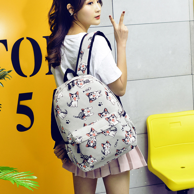 Canvas Backpack Cat Printing Backpack Girl School Backpack
