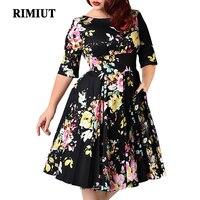 Rimiut Big Size Women Dress Vintage Zipper Floral Printed Tunic Big Swing Dress Plus Size elegant Dresses For Women 3XL 9XL