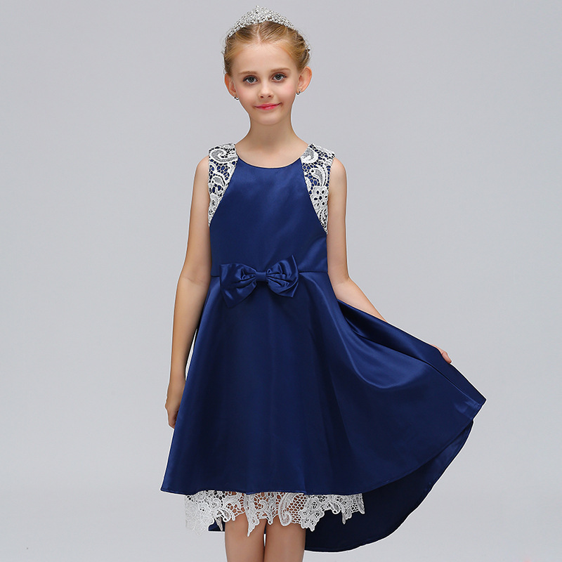 2018 Summer Kids Girls Princess Dress Sleeveless Girl Lace Dresses Blue Pink Birthday Party Dress Children Clothing 2-10T summer kids girls clothing dresses sleeveless lace girl princess costume dress children party wear tulle prom gown formal dress