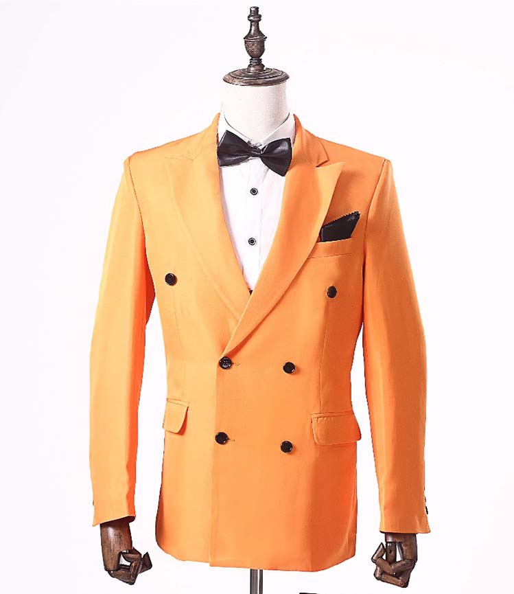 New Orange Men Jacket Suit for Groom Tuxedos Double Breasted Blazer Wedding Suits Tailored Man's Party Suits Blazer