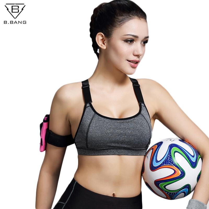 Prix pour B. BANG Femmes Soutien-Gorge de Sport Pour Courir Gym Fitness Rembourré Fil Livraison Shakeproof Push Up Bras Top Sous-Vêtements Sans Couture pour Femme