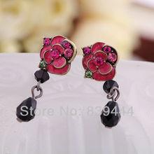 New Charm Jewelry Rose Flower Crystal  Earrings