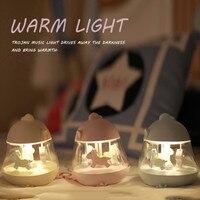 Household daily necessities Lovely Cute Merry go round Music Night Light Bedroom Decor Mini LED Lamp online star item light