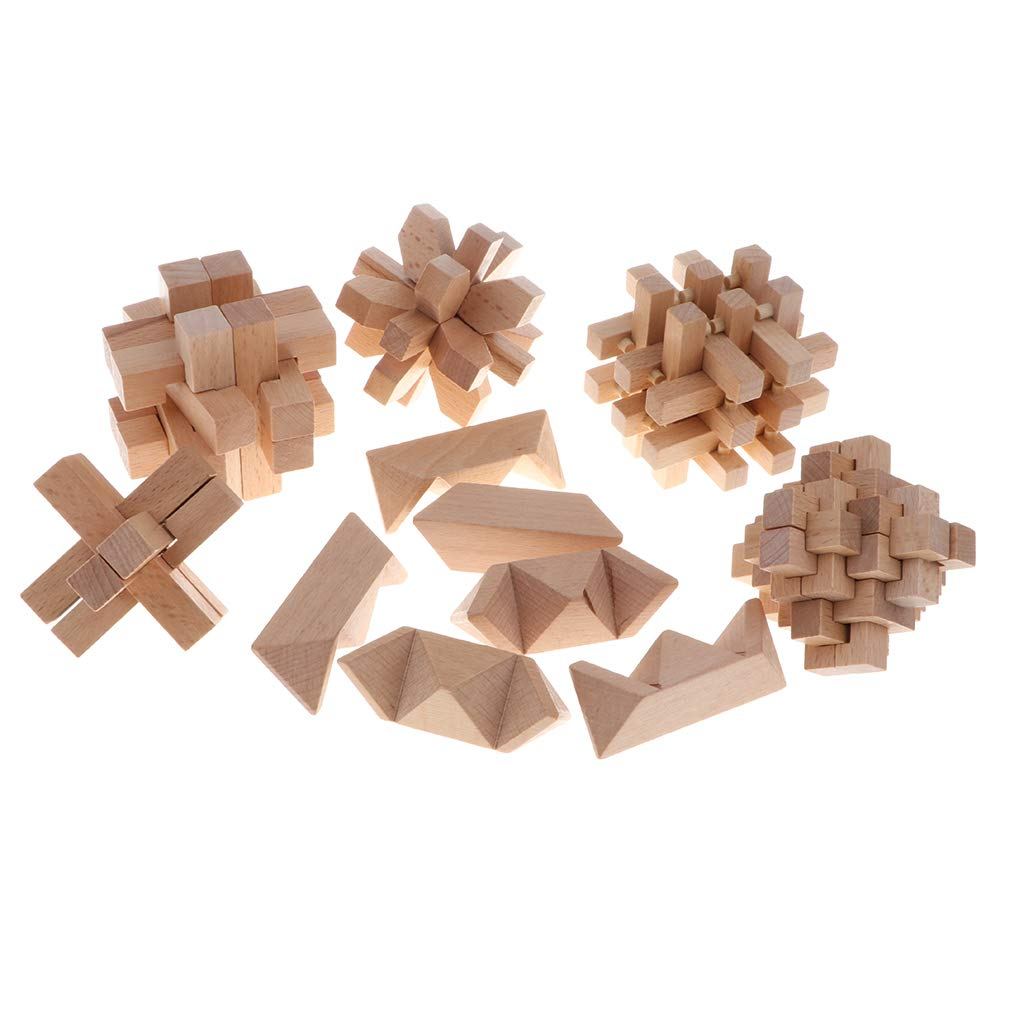 Chinese Wooden Brain Teaser Toy Kong Ming Puzzle Lock IQ Test Game Intelligence Toy for Adults Children