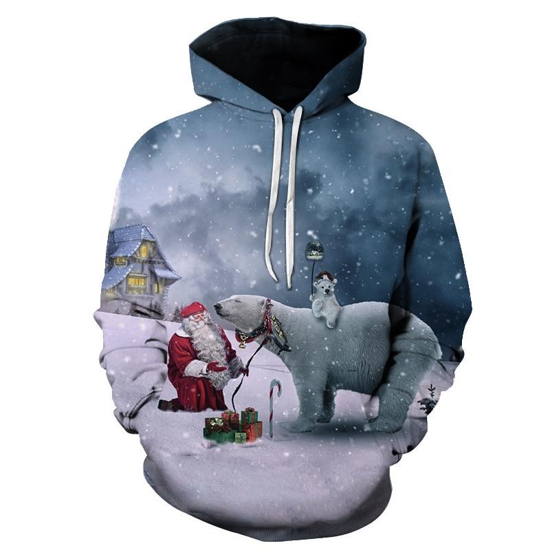 2019 hoodies merry Christmas printed fashion hip hop cute men women Hoodie Pullover Tops casual Long Sleeve 3D Hooded Sweatshirt