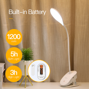 Image 2 - YAGE 7300K USB Table Lamp with Clip 1200mAh 18650 Rechargeable Led Desk Lamp Touch Lampe Flexo Bureau Study Night Light Table
