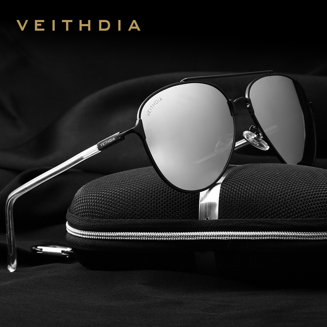 VEITHDIA Brand Fashion Men's Sunglasses Polarized Mirror Lens Eyewear Accessories Sun Glasses UV400 For Men 3802