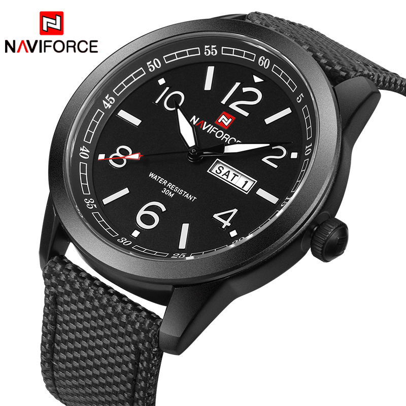 New NAVIFORCE Watches Fashion Men Top Brand Luxury Mens Nylon Strap Wristwatches Men's Quartz Sports Watches relogio masculino