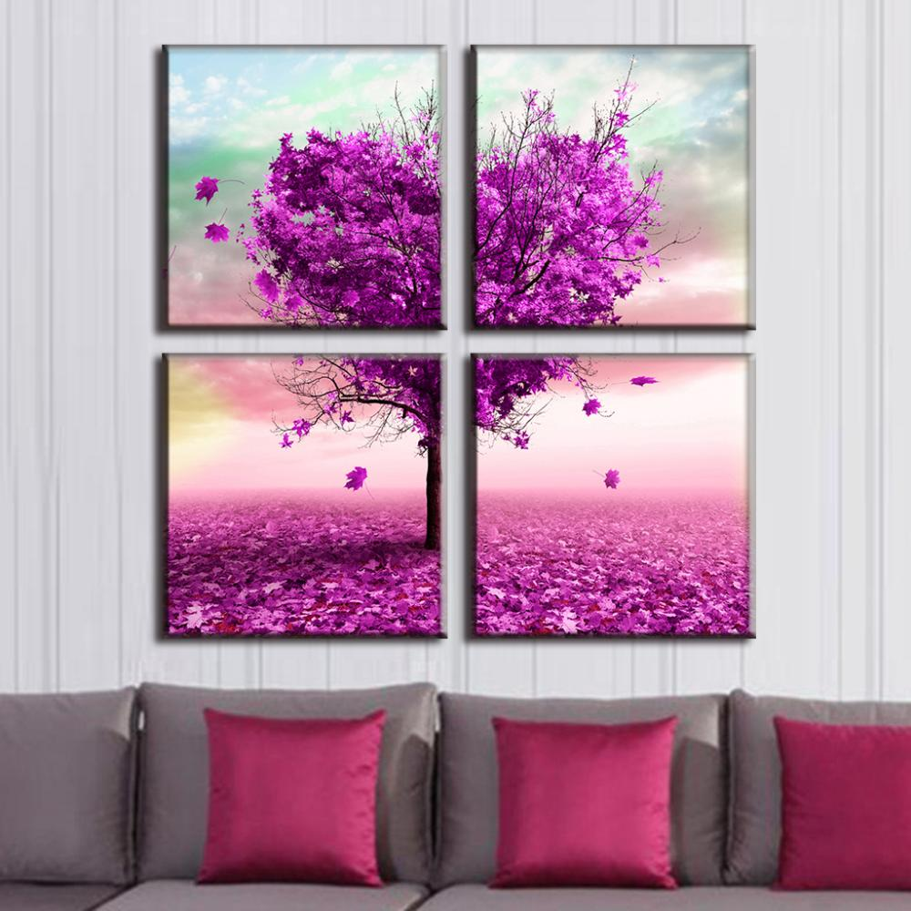 Buy modern 4 pcs set landscape flower for Home decor items on sale