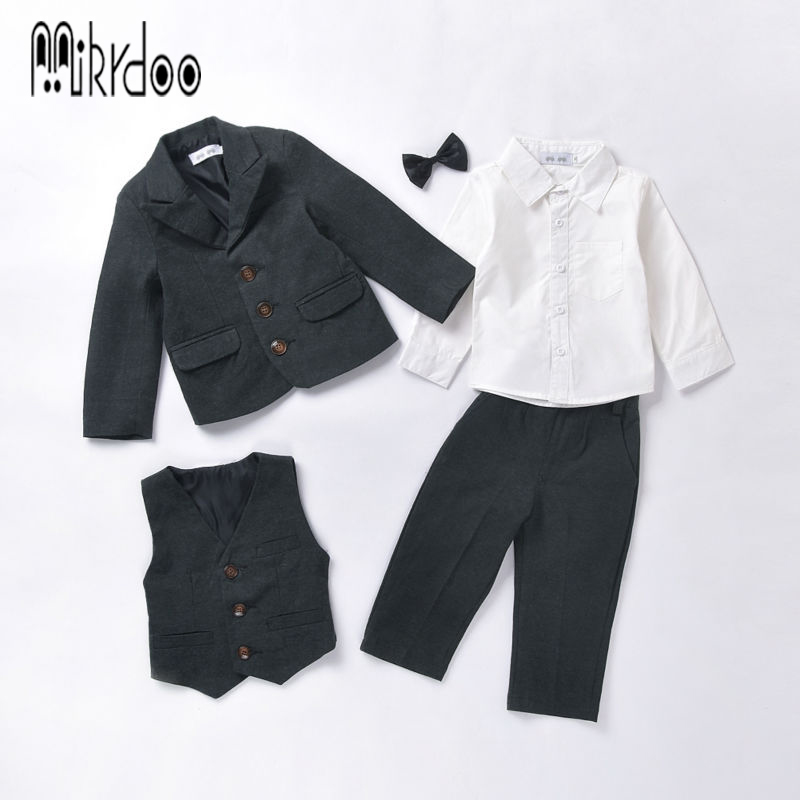Baby boy clothes blazers kids gentleman suit tuexdo terno clothing set coat shirt vest pants wedding formal children costume new 2016 new arrival fashion baby boys kids blazers boy suit for weddings prom formal wine red white dress wedding boy suits