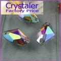 Super Brilhante ~! AX Forma Crystal Clear AB sew na pedra 2holes botões de vidro de cristal base de Prata. 5x10mm 9x14mm 12x19mm 16x27mm