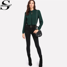 Sheinside 2017 Long Sleeve Blouse Green Stand Collar Pearl Detail Plain Button Keyhole Back Top Women Elegant Work Blouse