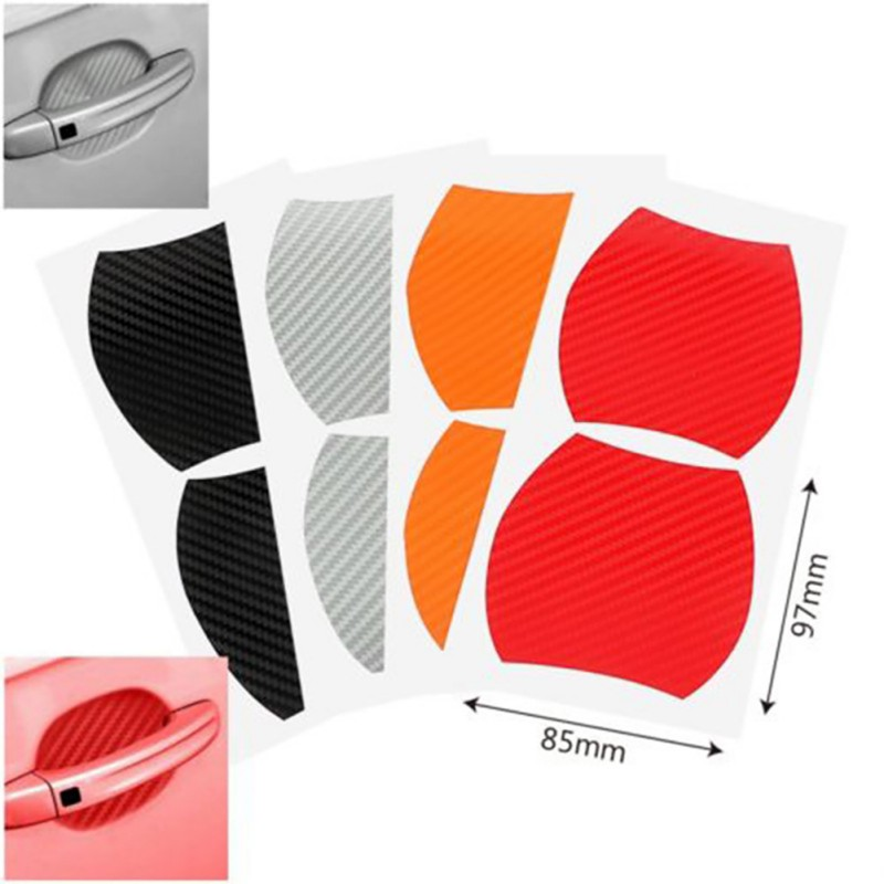 4Pcs/Set automovil door stickers  Handle Protection Film Scratches Resistant Membrane carbon fiber decoration car accessories-in Car Stickers from Automobiles & Motorcycles