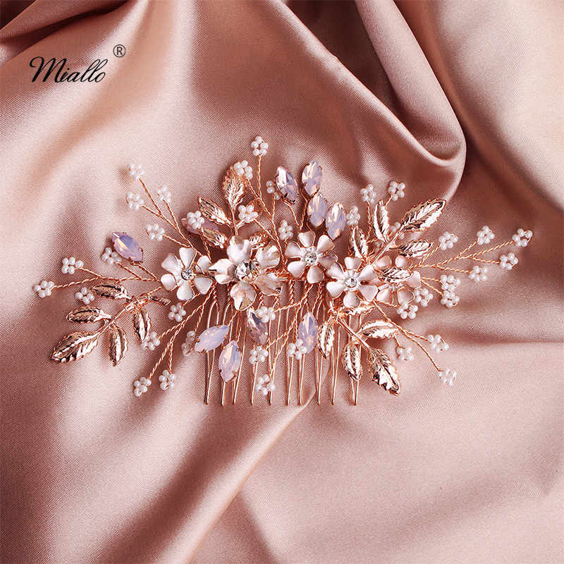 Miallo Fashion Rose Gold Flower Wedding Hair Comb Crystal Bridal Hair Jewelry Accessories Handmade Headpieces