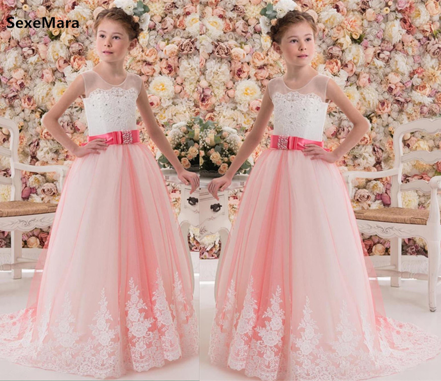 New Girls Dresses White Lace Pink Tulle Girl Party Prom Dresses Kid Girl Princess Christmas Gown First Communion Dress 2-16Y цена