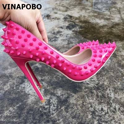 De Parti Mode Sexy 8cm Rivets Profonde Mariage Bout Rose Peu Lady Chaussures Classique Goujons Femmes 12cm Pointu Haut 10cm Spike Stiletto Talons xBhrtsoQdC
