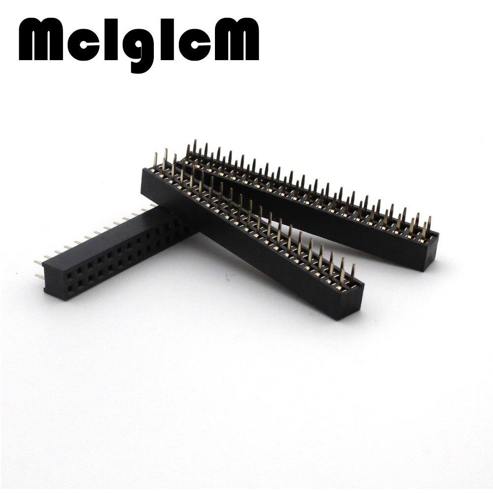 2Pcs Pin Female Straight Header Pitch Strip 2.54MM 2X20 40Pin Double Row Sock kk