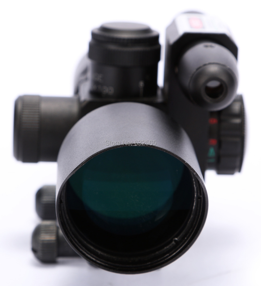 Air Hunting Gun Sight Tactical 2.5-10x40 Red Green Mil-dot Rifle Compact Scope Red W/ Green Rail Laser