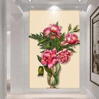 사용자 정의 3D 사진 벽지 거실 침실 복도 욕실 문 그림 벽 벽화 Florals 벽 종이 홈 장식