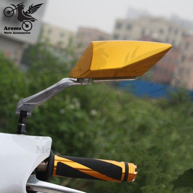 9 kolory dostępne 10mm 8mm unviersal części ATV lusterko wsteczne cafe racer moto rbike lusterko wsteczne moto krzyż lusterko boczne dla kawasaki honda suzuki benelli yamaha vespa gts akcesoria lusterko motocyklowe lusterko wsteczne moto