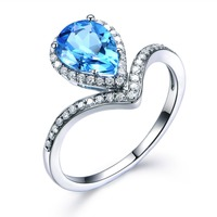 Blue Topaz Pear Shaped Engagement Ring White Yellow Rose Gold Plated CZ Cubic Zirconia Halo Fashion