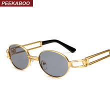Peekaboo 2017 retro vintage sunglasses men small round gold metal small sun glasses for men vintage women hollow uv400