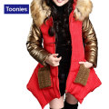 Fashion Girls Snow Patchwork Overcoat Princess Cotton Padded Fur Collar Warm Jacket Thick Winter Clothes Children Outerwear Coat