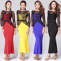 2016 Autumn Women Dress New Casual Lace Solid Black Sheath Sexy Female Dresses Fitness Long Section  For Women Cloth Tops