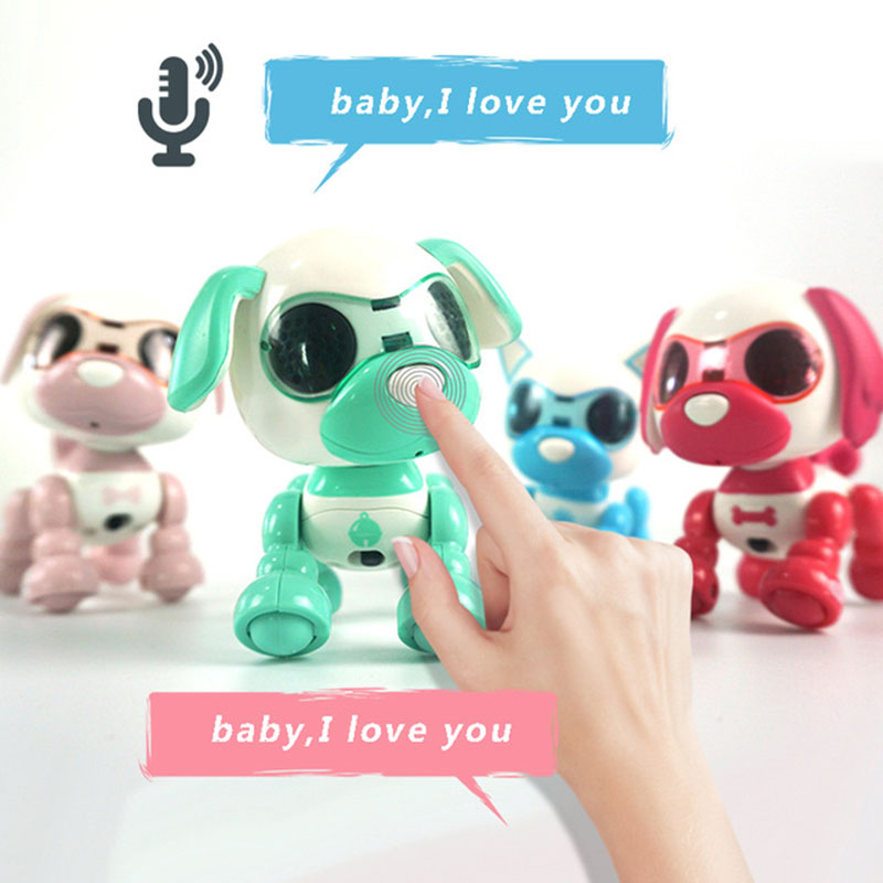 Dog Robot Toy Cute Smart Pet Dog Interactive Smart Puppy Robot Dog Voice-Activated Touch Recording LED Eyes Sound Recording Sing