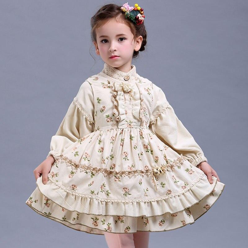 2017 girl suit spring/autumn new original design retro palace cotton princess 2pcs dress ...