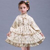 2017 Girl Suit Spring Autumn New Original Design Retro Palace Extension Cotton Princess 2pcs Dress Girl